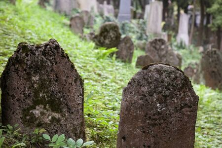 trebic: Old Jewish cemetery in Trebic (Moravia, Czech Republic).  Stock Photo