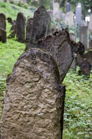 Old Jewish cemetery in Trebic (Moravia, Czech Republic).  Stock Photo