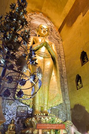 man made structure: Gold Buddha statue in Ananda temple, Bagan, Burma.