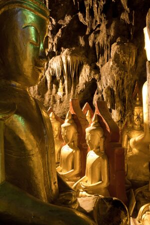 man made structure: Cave with more than 800 golden Buddha statues. Pindaya, Shan state, Burma. Editorial