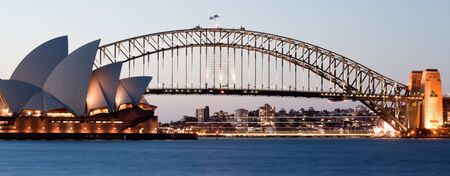 jorn: SYDNEY - FEBRUARY 6: The Sydney Opera House with Harbor bridge in Sydney, Australia on February 6, 2013. Designed by Danish architect Jorn Utzon; this year is celebrating the 40th opening anniversary Editorial