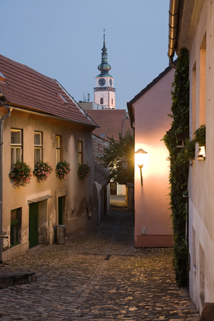 trebic: Illuminated Jewish town in Trebic (Moravia, Czech Republic). UNESCO protected the oldest Middle ages settlement of Jewish community in Central Europe. Stock Photo