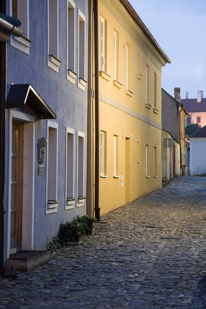 jewish town: Illuminated Jewish town in Trebic (Moravia, Czech Republic). UNESCO protected the oldest Middle ages settlement of Jewish community in Central Europe. Stock Photo