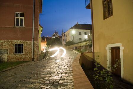 jewish community: Illuminated Jewish town in Trebic (Moravia, Czech Republic). UNESCO protected the oldest Middle ages settlement of Jewish community in Central Europe. Stock Photo