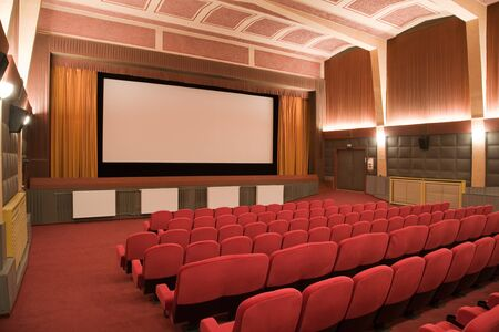 cubism: PR (property release) available. Empty retro cinema auditorium in cubism style with line of chairs and projection screen. Ready for adding your own picture. Stock Photo