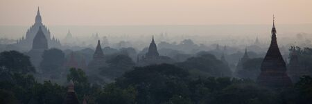 man made structure: Valley of thousands Buddhist pagodas in Bagan, Burma.