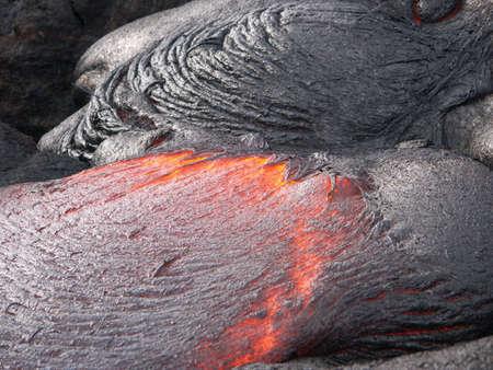 Flowing lava on volcano field. Hawaii, Big Island Stock fotó