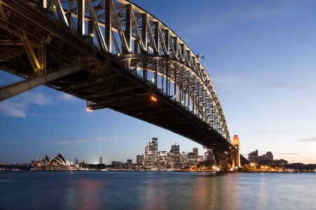 Harbor bridge in Sydney with downtown skyline at sunset.