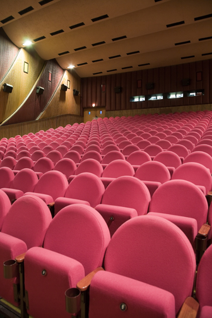 PR (property release) available. Empty cinema auditorium with line of chairs. Side view. photo