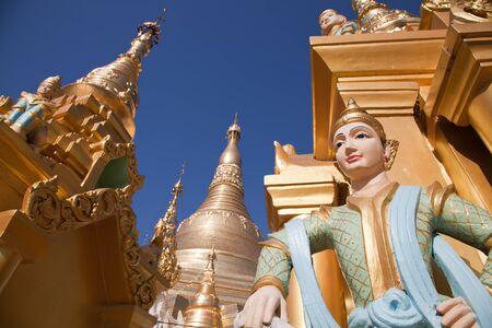 man made structure: Interior of the biggest Buddhist temple Shwedagon pagoda, Rangoon, Burma.