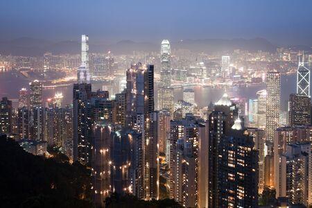 HONGKONG - 1. Februar 2013: Hongkong Innenstadt in der Nacht Beleuchtung auf 1. Februar 2013. Standard-Bild - 39473308