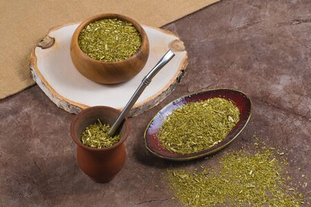 South American yerba mate in porongo and in bowls