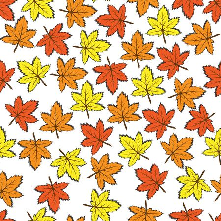 Seamless vector pattern of maple leaves. Autumn colors. Vectores