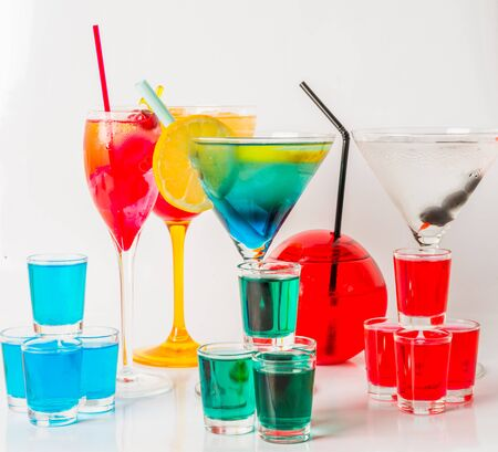 Set of color drink, different shapes of glasses, drink set, party set Stock Photo