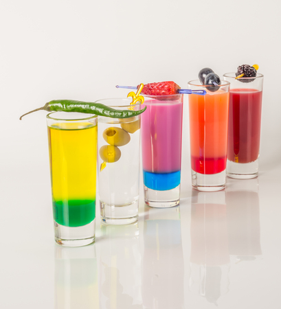 Colorful set of drinks, color drink decorated with fruit, color shots, party set Stock Photo