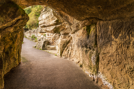Tourist route, powerful rocks and vegetation, rock cave, interesting tourist destination, geology, rocks