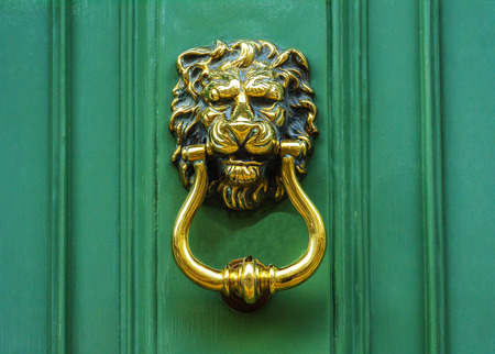 Door with brass knocker in the shape of a lion's head, beautiful entrance to the house, lion decor Archivio Fotografico