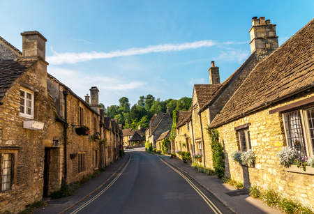 old English town and beautiful historic buildings, old street, historical architecture, sunny day Stock Photo