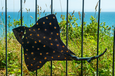 Metal ornament on a balustrade in a seaside village, symbolic in the shape of rays, decor