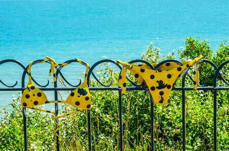 Metal ornament on a balustrade in a seaside village, symbolic element in the form of a swimsuit, decor