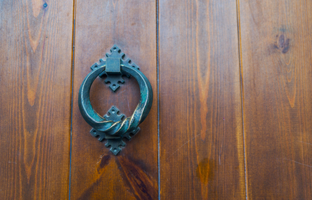 Door with brass knocker in the shape of a decor,  beautiful entrance to the house, vintage decoration