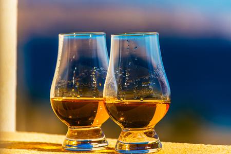 Single malt whisky in the glasses, luxurious tasting glass, tasty set