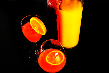 cocktail based on Campari liqueur and orange juice, famous Italian refreshing drink, mix drink