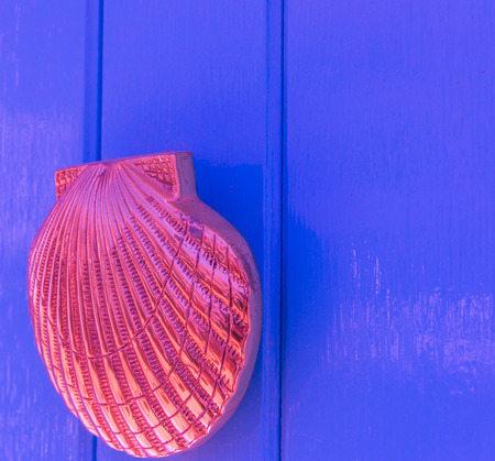 Door with brass knocker in the shape of a shell,  beautiful entrance to the house, vintage decoration