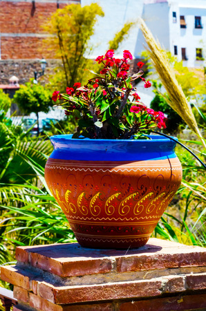 Beautiful ceramic flower pot on a pedestal with flowers, decoration of urban space, outdoor decoration, decor street Stock Photo