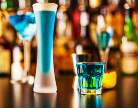 refreshing liqueur in a tall glass, alcoholic drink prepared by the bartender, nightlife Stock Photo