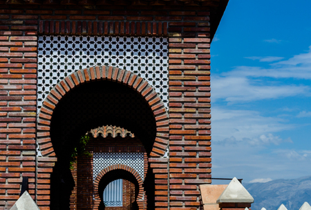 Typical Moorish defensive walls in a small town of Andalusia, a historic element of architecture, Spain 版權商用圖片