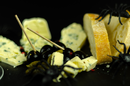 A set of cheeses served in a special form for a halloween party, scary food, fun
