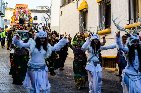 VELEZ-MALAGA, SPAIN - JANUARY 5, 2018 Parade on the occasion of the Epiphany holiday  in Malaga province, holiday day, procession Editorial