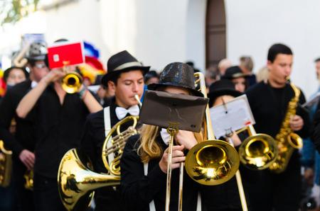 NERJA, SPAIN - FEBRUARY 11, 2018People in costumes celebrating