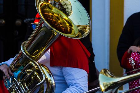 VELEZ-MALAGA, SPAIN - FEBRUARY 3, 2018People in costumes celebrating carnival in Malaga province, carnival parade
