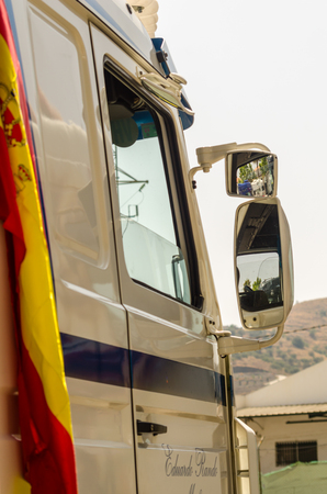 TORROX, SPAIN - JULY 22, 2018 show of tractor units for visitors, powerful machines gathered in a square in an Andalusian town Editoriali
