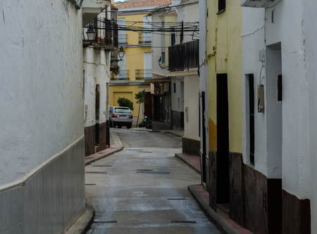 VELEZ-MALAGA, SPAIN - AUGUST 17, 2018 Empty streets during a siesta in a Spanish city, characteristic architecture in the south of Spain