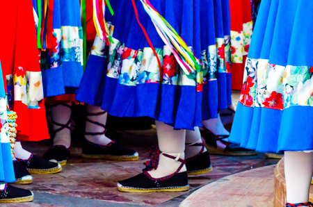 Traditional colorful shoes for folk costumes in Spain, dance shoes, espadrilles