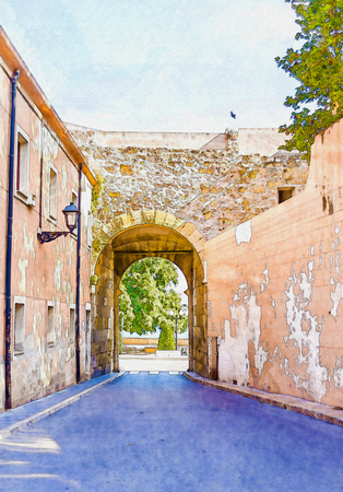 beautiful narrow alley in the old town of spain, watercolor painted, illustration Stock Photo
