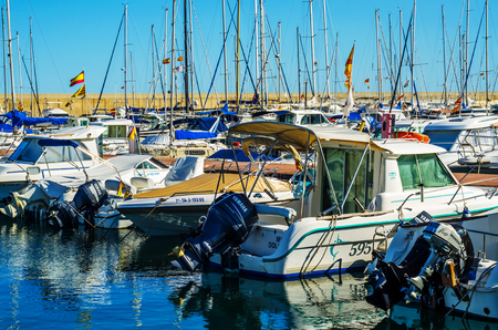 TORREDEMBARRA, SPAIN - SEPTEMBER 10, 2017   A beautiful marina with luxury yachts and motor boats in the tourist seaside town of Torredembarra 報道画像