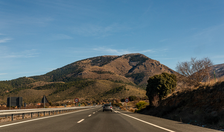 GRANADA SPAIN, DECEMBER 15, 2018 A-92 expressway leading to the city of Granada in Spain, European road infrastructure