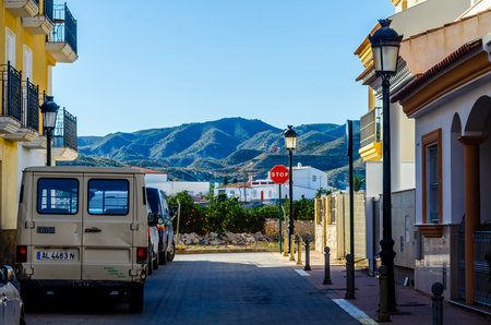 ANTAS, SPAIN - JANUARY 26, 2019 Empty Spanish streets in a small town next to Almeria, the characteristic architecture of old Andalusia 新聞圖片