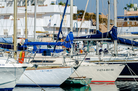 CABO DE PALOS, SPAIN - FEBRUARY 8, 2019   A beautiful marina with luxury yachts and motor boats in the tourist seaside town near of Cartagena