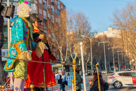 CARTAGENA, SPAIN - MARCH 2, 2019 A colorful carnival parade organized by the inhabitants of a famous town in Murcia region