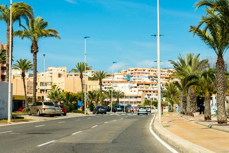 LA MANGA, ESPAÑA, 4 DE MARZO DE 2019 Avenida Gran Vía de la Manga desde Cabo de Palos hasta Punta del Mojón.