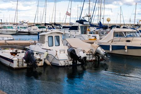 GARRUCHA, SPAIN - FEBRUARY 2, 2019   A beautiful marina with luxury yachts and motor boats in the tourist seaside town of Garrucha 報道画像