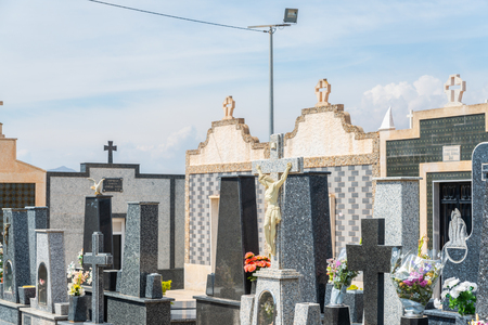 CANTERAS, SPAIN - 2 APRIL 2019 An old cemetery with beautiful tombstones for residents of three nearby towns in the Murcia region