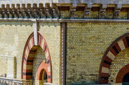 LONDON, UK - MAY 21, 2019 Original Abbey Mills Pumping Station, in Abbey Lane, London, is a sewage pumping station, designed by engineer Joseph Bazalgette, Edmund Cooper and architect Charles Driver. Characteristic Byzantine style
