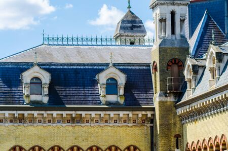 LONDON, UK - MAY 21, 2019 Original Abbey Mills Pumping Station, in Abbey Lane, London, is a sewage pumping station, designed by engineer Joseph Bazalgette, Edmund Cooper and architect Charles Driver. Characteristic Byzantine style Redactioneel