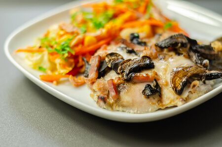 Chicken with sliced mushrooms, ham, in cheese sauce with pasta salad, diet food